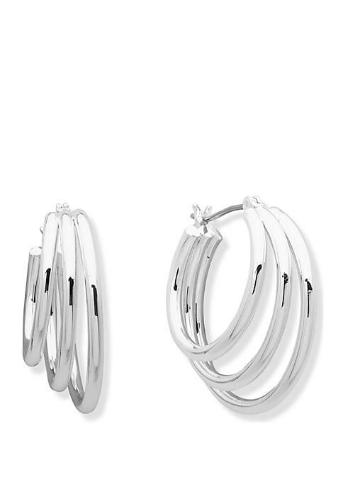 3 Row Click Top Hoop Earrings