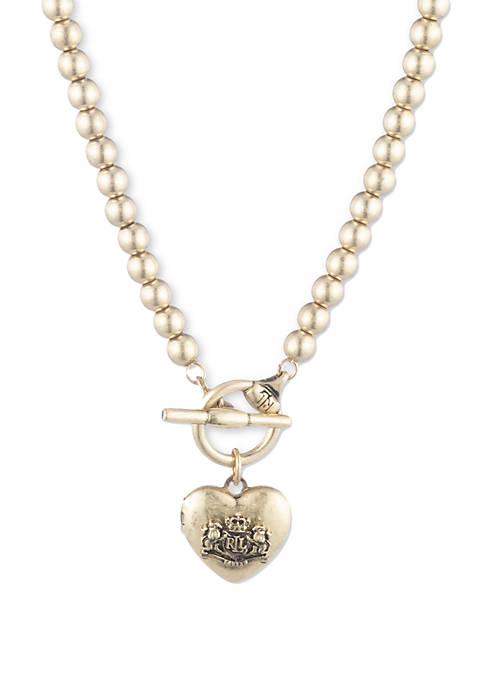 Lauren Gold Tone Heart Crest Locket Necklace