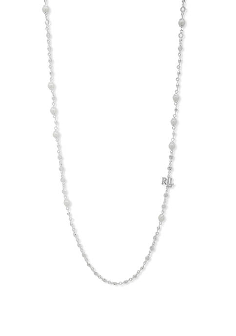 Silver-Tone White Pearl 42 Inch Strand Necklace