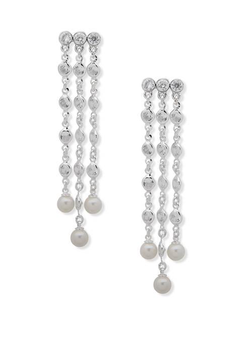 Silver Tone Pearl Chandelier Earrings