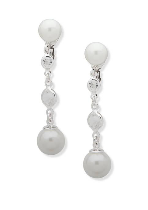Pearl Linear Clip Earrings