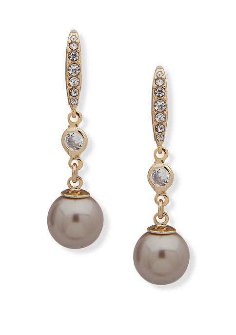 Lauren Ralph Lauren Gold Tone Pearl Drop Earrings
