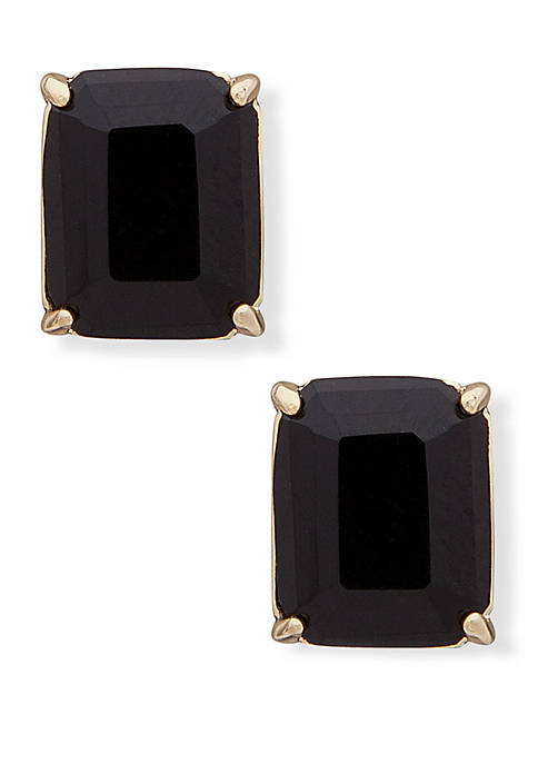 Gold Tone Jet Stud Earrings