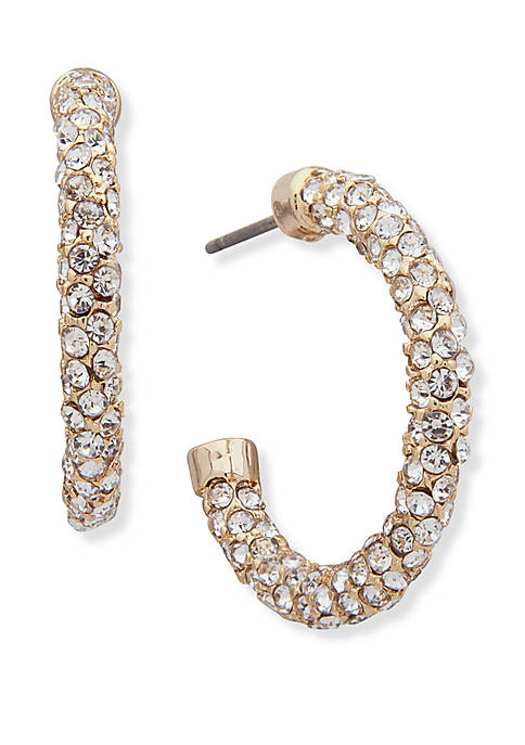 Gold Tone Crystal Small Pave Hoop Earrings