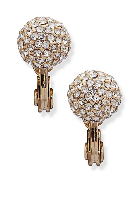 Gold Tone Pave Fireball Clip Earrings