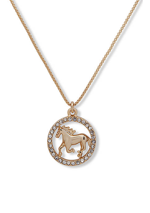 Lauren Gold Tone Crystal Horse Pendant Necklace
