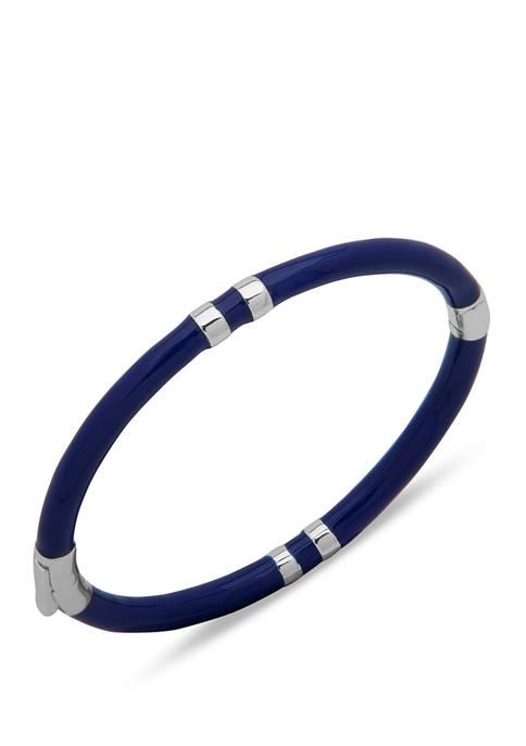 Gold Tone White Enamel Hinge Bangle Bracelet