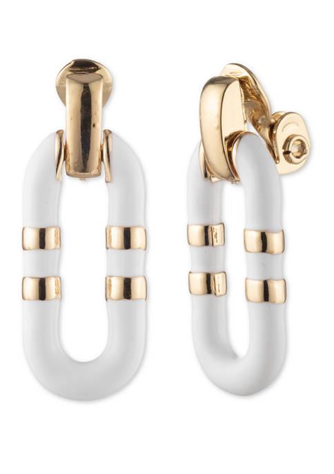 Enamel Link Drop Earrings