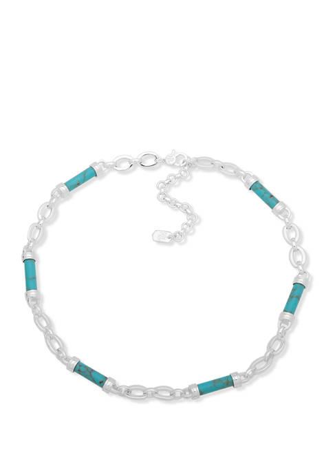 Lauren Ralph Lauren Silver-Tone Turquoise Barrel Frontal Necklace