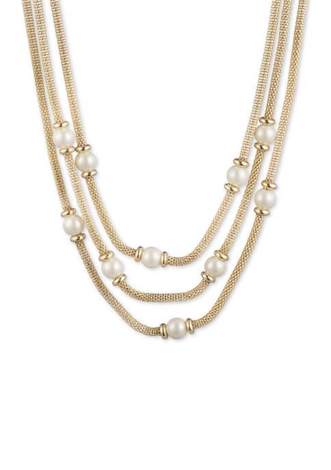Lauren 16 Inch Mesh Multi Row Necklace