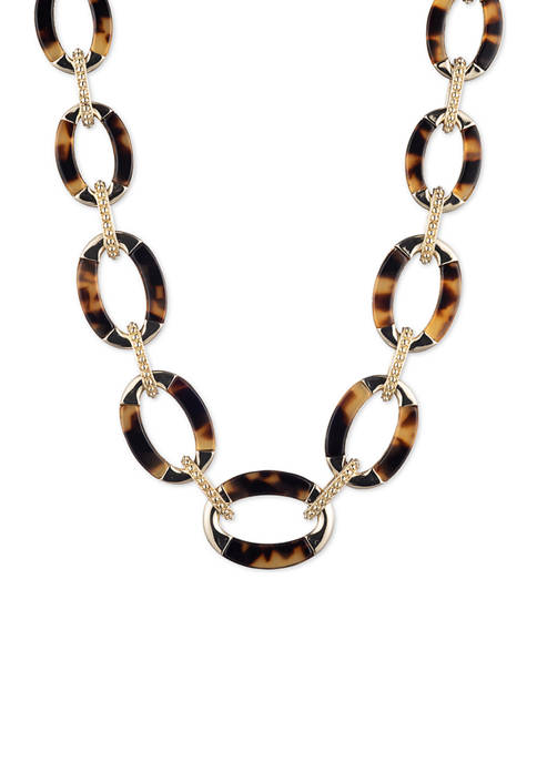 Gold Tone Tortoise Inlay Collar Necklace