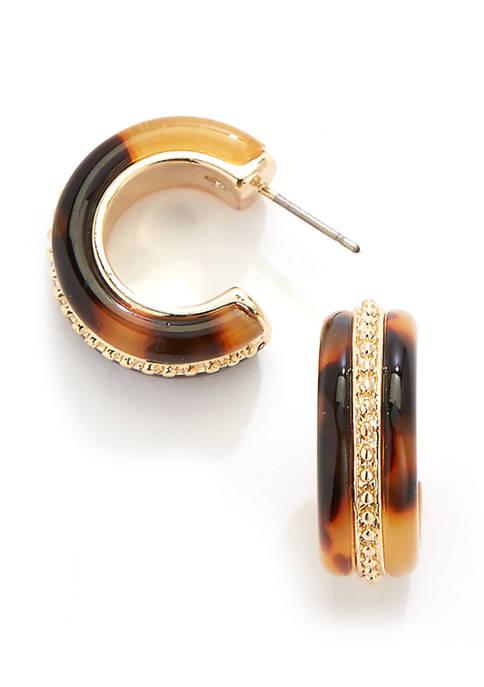 Tortoise Hoop Earrings with Gold Inlay