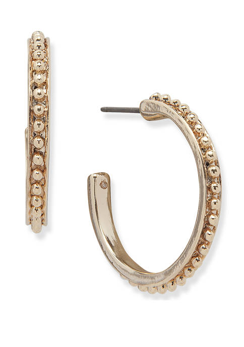 Lauren Gold Tone Ball Textured Hoop Earrings