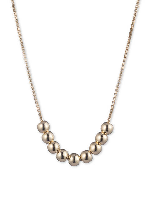 Lauren Gold Tone Metal Ball Frontal Necklace