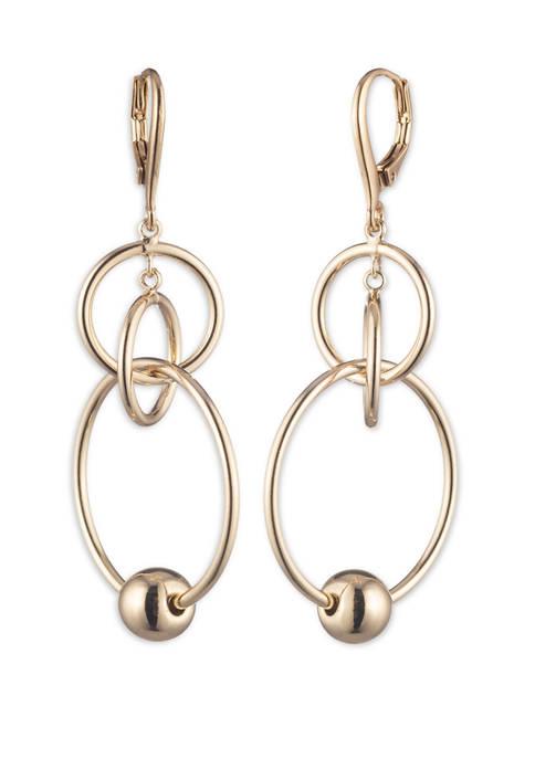 Lauren Gold Tone Ring Orbital Earrings