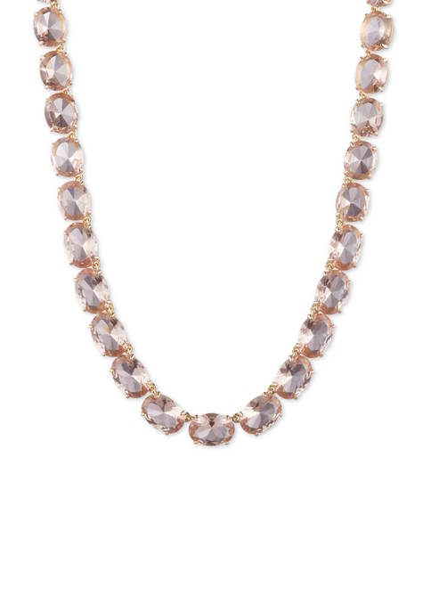 Gold Tone Rose Stone Collar Necklace