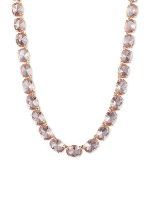 Lauren Gold Tone Rose Stone Collar Necklace