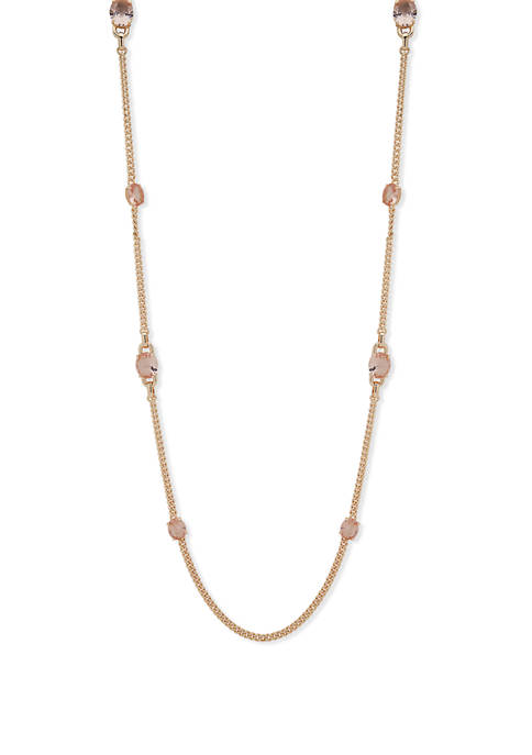 Gold Tone Rose 42 Inch Strand Necklace