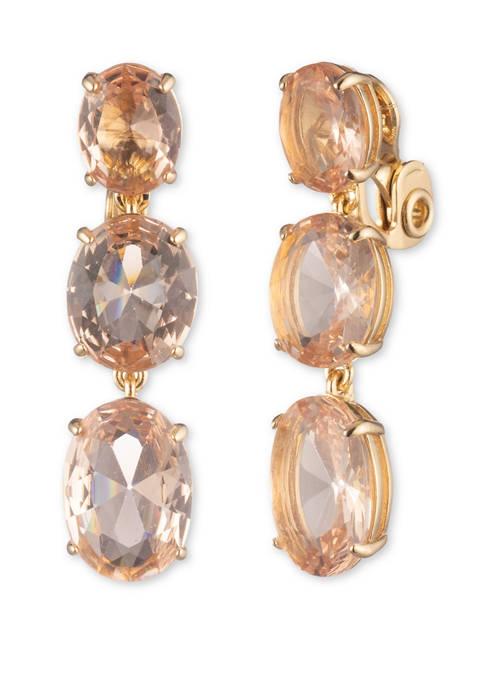 Gold Tone Rose EZ Comfort Clip Linear Earrings