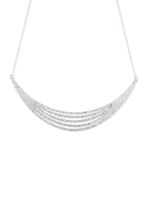 Multi Row Pave Crystal Frontal Necklace