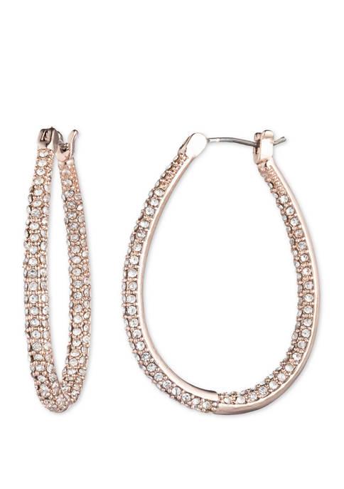 Rose Gold Tone Crystal Teardrop Hoop Earrings
