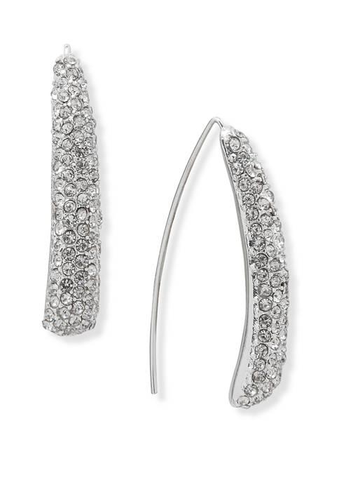 Silver Tone Crystal Threader Earrings