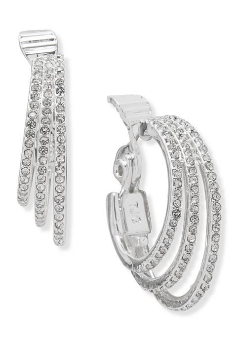 3 Row Crystal Pave Ring Hoop Earrings