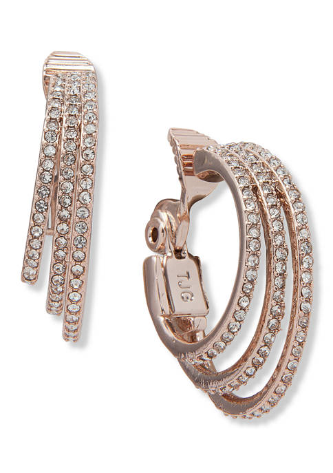 3 Row Crystal Pave Ring Hoop Earrings