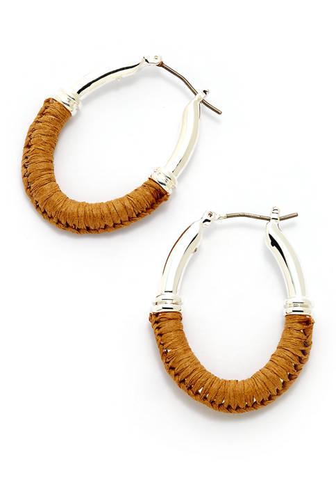Silver Tone Pierced Raffia Link Hoop Earrings