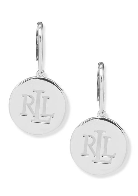 Lauren Ralph Lauren Silver Tone Pierced Logo Drop