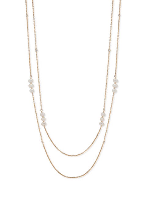 2 Row Strand White Pearl Necklace