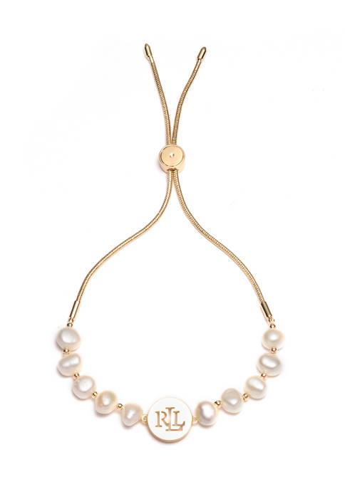 Lauren Gold Tone White Pearl Logo Slider Bracelet
