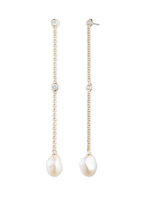 Gold Tone Mother of Pearl Linear Earrings