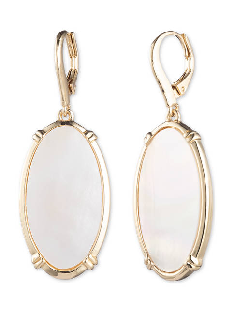 Gold Tone White Mother of Pearl Drop Earrings