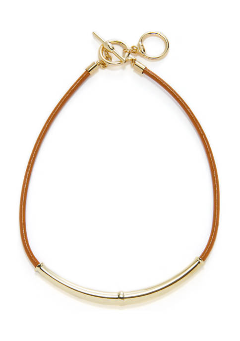 Lauren 16 Inch Leather Toggle Frontal Necklace