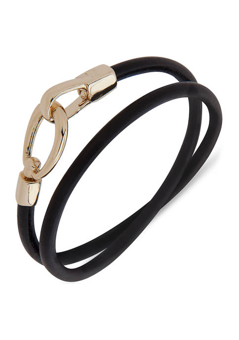Gold Tone Leather Wrap Bracelet
