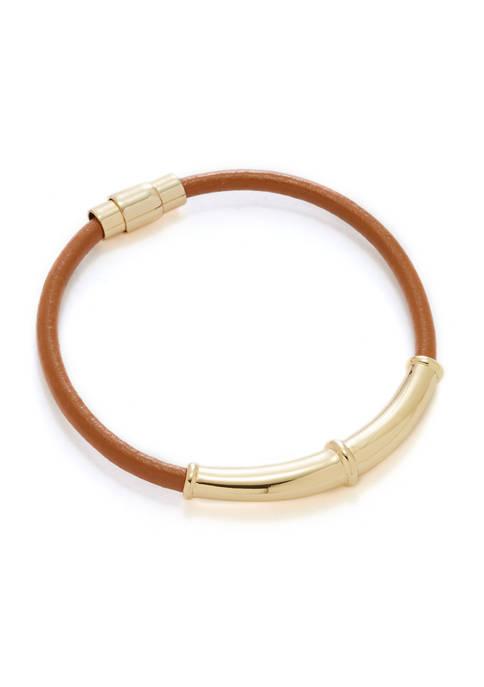 Brown Leather Bangle Bracelet