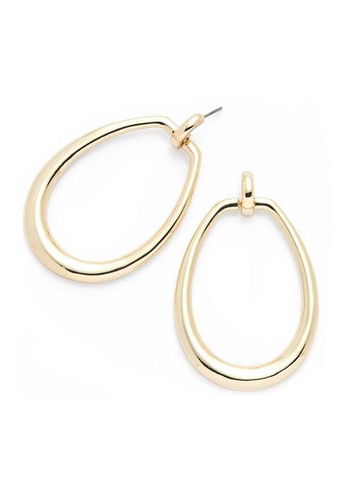 Gold-Tone Link Drop Hoop Earrings