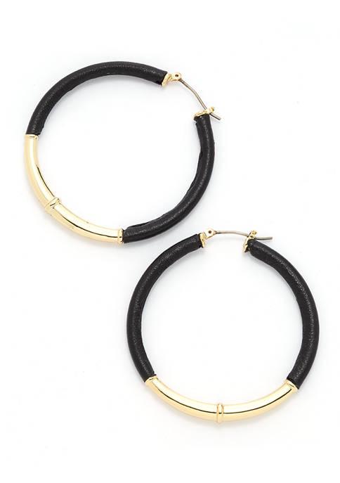 Lauren Leather Hoop Earrings with Gold-Tone Metal