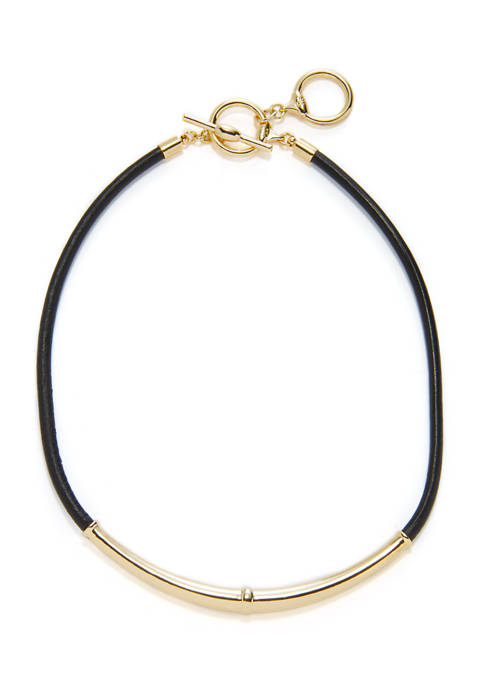 16 Inch Leather Toggle Frontal Necklace
