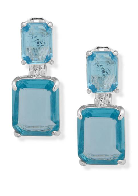 Lauren Silver Tone Aqua EZ Comfort Clip Drop