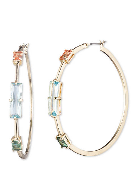 Lauren Gold Tone Multi Large Stone Hoop Earrings