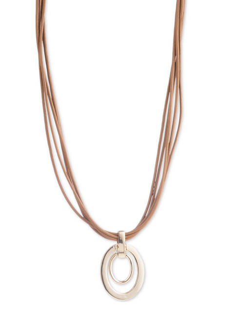 Lauren Ralph Lauren Gold Tone Leather Link Pendant