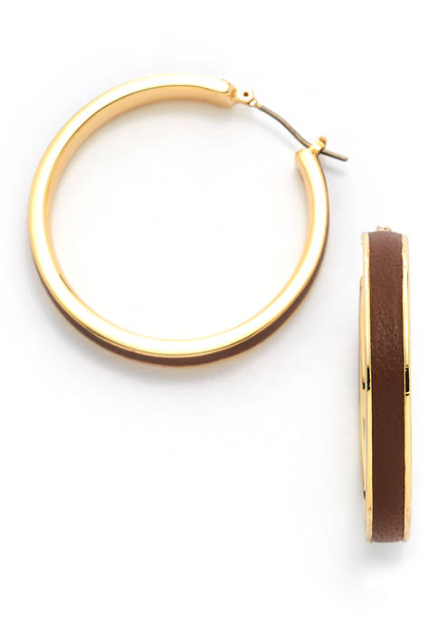 Gold Tone and Brown Leather Hoops