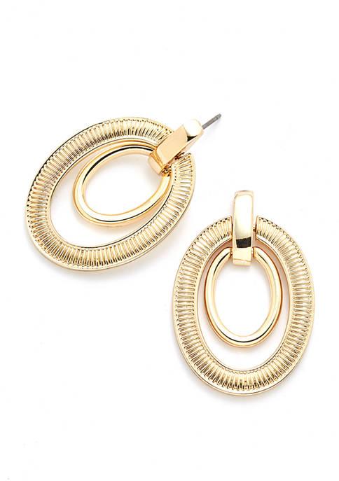 Gold-Tone Textured Link Orbital Earrings
