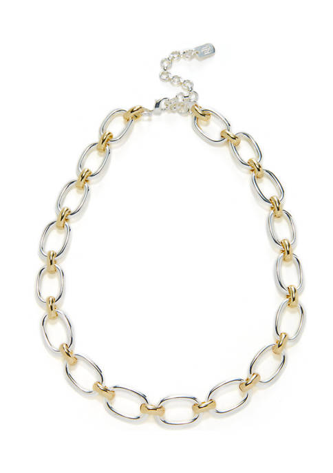 16 Inch Oval Link Collar Two-Tone Necklace