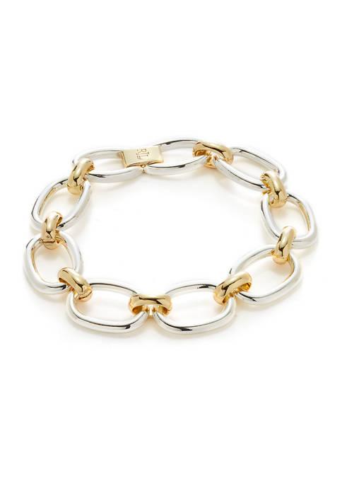Lauren Two Tone Oval Link Flex Bracelet