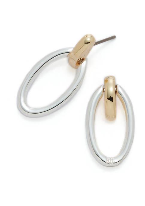 Two-Tone Oval Link Drop Earrings