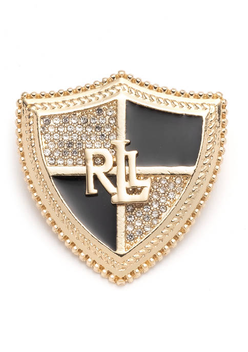 Lauren Ralph Lauren Gold Tone LRL Shield Crystal