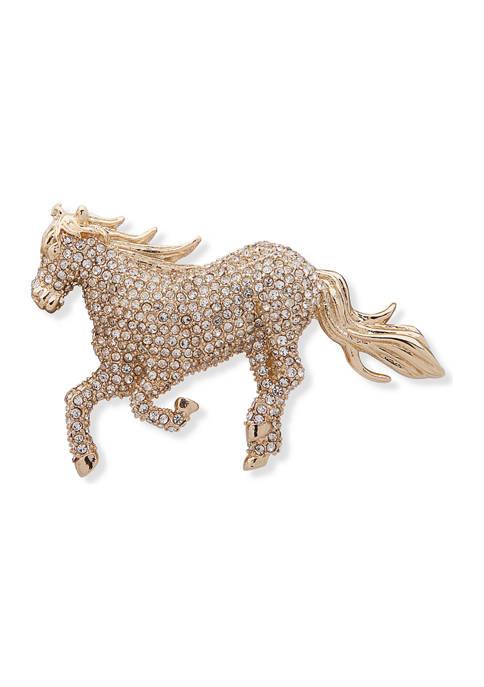 Lauren Ralph Lauren Gold Tone Pave Horse Crystal